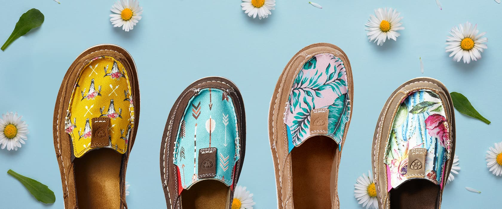 Ariat women's Cruisers with daisy flowers
